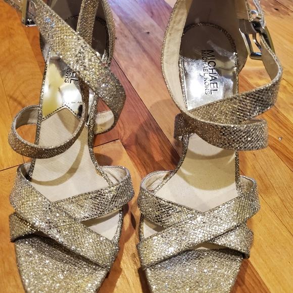 Michael Kors silver glitter high heels